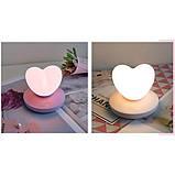 Силиконовый LED светильник-ночник Сердце. Светло-фиолетовый, фото 4
