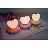 Силиконовый LED светильник-ночник Сердце. Светло-фиолетовый, фото 5