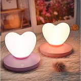 Силиконовый LED светильник-ночник Сердце. Светло-фиолетовый, фото 6