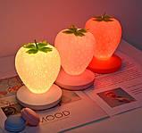 Силиконовый LED светильник-ночник Клубника. Красный, фото 2