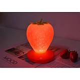 Силиконовый LED светильник-ночник Клубника. Красный, фото 5