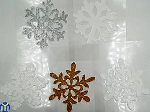 Новогодние наклейки, силиконовые, Снежинки 12шт\уп.