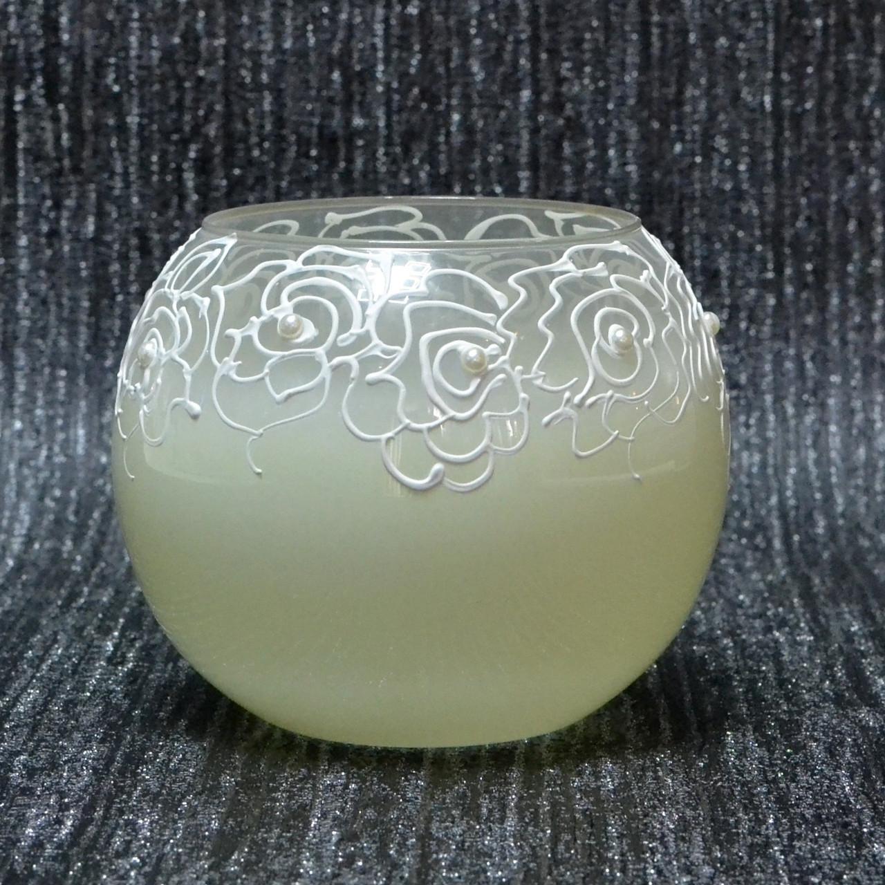 Ваза стекло скло світло лимонного кольору, висота 12,5 см