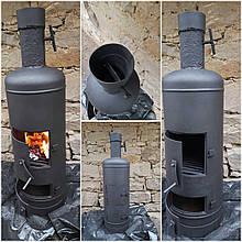 Печь-камин, Буржуйка на дровах, брикетах