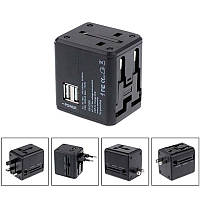 СЗУ 2USB Usams T2  (1A) Black (US-CC044) with Universal Travel Adapter, фото 1