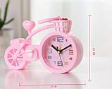Настольные часы-будильник Велосипед. Светло-розовый, фото 3