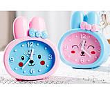 Детские настольные часы-будильник Зайка. Синие ушки. УЦЕНКА, фото 3
