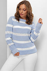 Голубой женский свитер джемпер в белую полоску