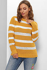Желтый женский свитер джемпер в белую полоску