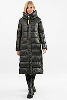 Женская черная длинная зимняя куртка стеганая с капюшоном