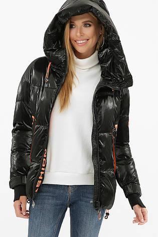 Женская трендовая зимняя короткая куртка черная, фото 2