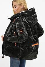 Жіноча трендова коротка зимова куртка чорна, фото 2
