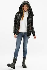Жіноча трендова коротка зимова куртка чорна, фото 3