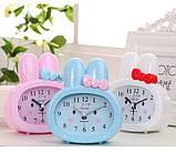 Детские настольные часы-будильник Зайчик. Синий, фото 2