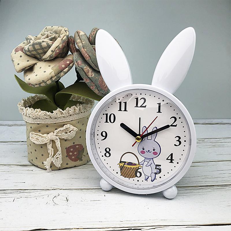 Детские настольные часы-будильник Милый кролик. Серо-голубой. УЦЕНКА