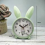 Детские настольные часы-будильник Милый кролик. Серо-голубой. УЦЕНКА, фото 2
