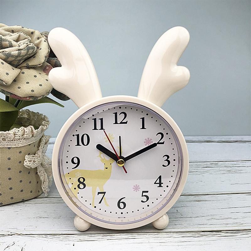 Дитячі настільні годинники-будильник Оленя. Кремово-жовтий