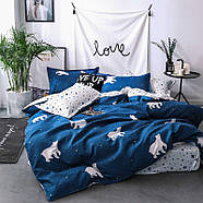 """Двуспальный комплект (Ранфорс)   Постельное белье от производителя """"Королева Ночи""""   Белые медведи на синем, фото 2"""