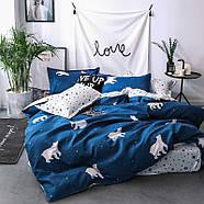 """Евро комплект (Ранфорс)   Постельное белье от производителя """"Королева Ночи""""   Белые медведи на синем, фото 2"""