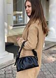 Женская кожаная сумка облако polina&eiterou черная, фото 3
