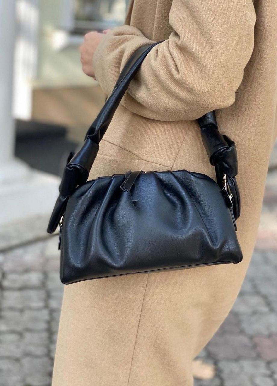 Женская кожаная сумка облако polina&eiterou черная