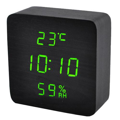 Часы сетевые 872S-4 зеленые, температура, влажность USB