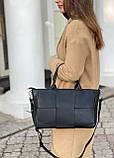 Женская кожаная сумка polina&eiterou черная, фото 6