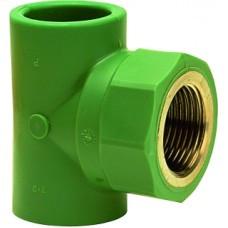 "Тройник, PP-R, В, D = 32мм x 1 "", зеленый"