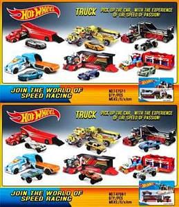 Трейлер Hot Wheels (Хот Вилс) T-E757-1/T-H708-1 с машиной, метал, 12в, лист 24*5,5*21см