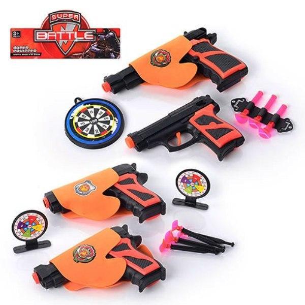 Набор оружия 02-8-03-11 пистолет 2шт, на присосках, кобура, мишень, 2 вида, в кульке, 27-16-3см