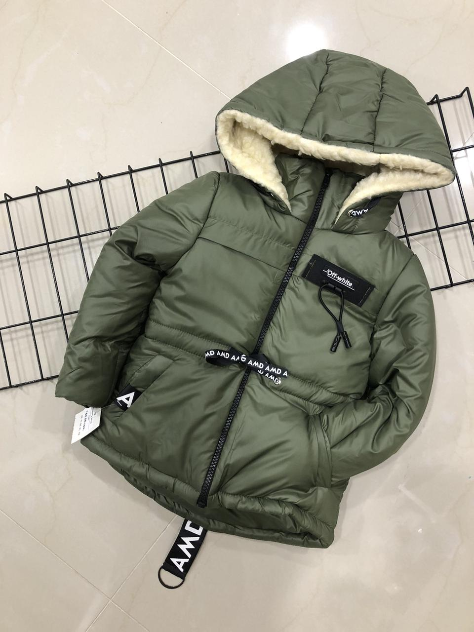 Зимняя курточка на овчине для мальчика (на рост 116 см)