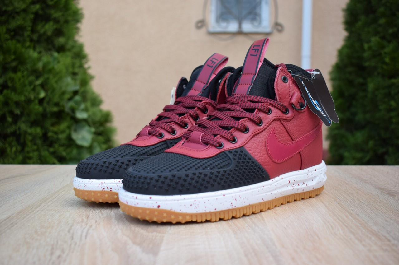 Nike Lunar Force 1 Duckboot мужские демисезонные бордовые кроссовки на шнурках