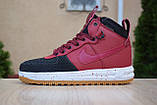 Nike Lunar Force 1 Duckboot мужские демисезонные бордовые кроссовки на шнурках, фото 2