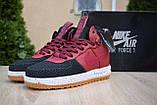 Nike Lunar Force 1 Duckboot мужские демисезонные бордовые кроссовки на шнурках, фото 4