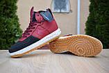 Nike Lunar Force 1 Duckboot мужские демисезонные бордовые кроссовки на шнурках, фото 6