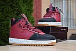 Nike Lunar Force 1 Duckboot мужские демисезонные бордовые кроссовки на шнурках, фото 8