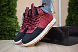 Nike Lunar Force 1 Duckboot мужские демисезонные бордовые кроссовки на шнурках, фото 9