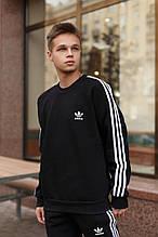 Adidas Мужской утепленный черный спортивный костюм зима. Свитшот черный, штаны черные комплект с лампасами