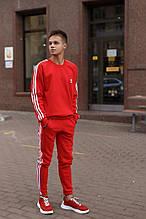 Adidas Мужской утепленный красный спортивный костюм с лампасами зима. Свитшот красный штаны красные демисезон