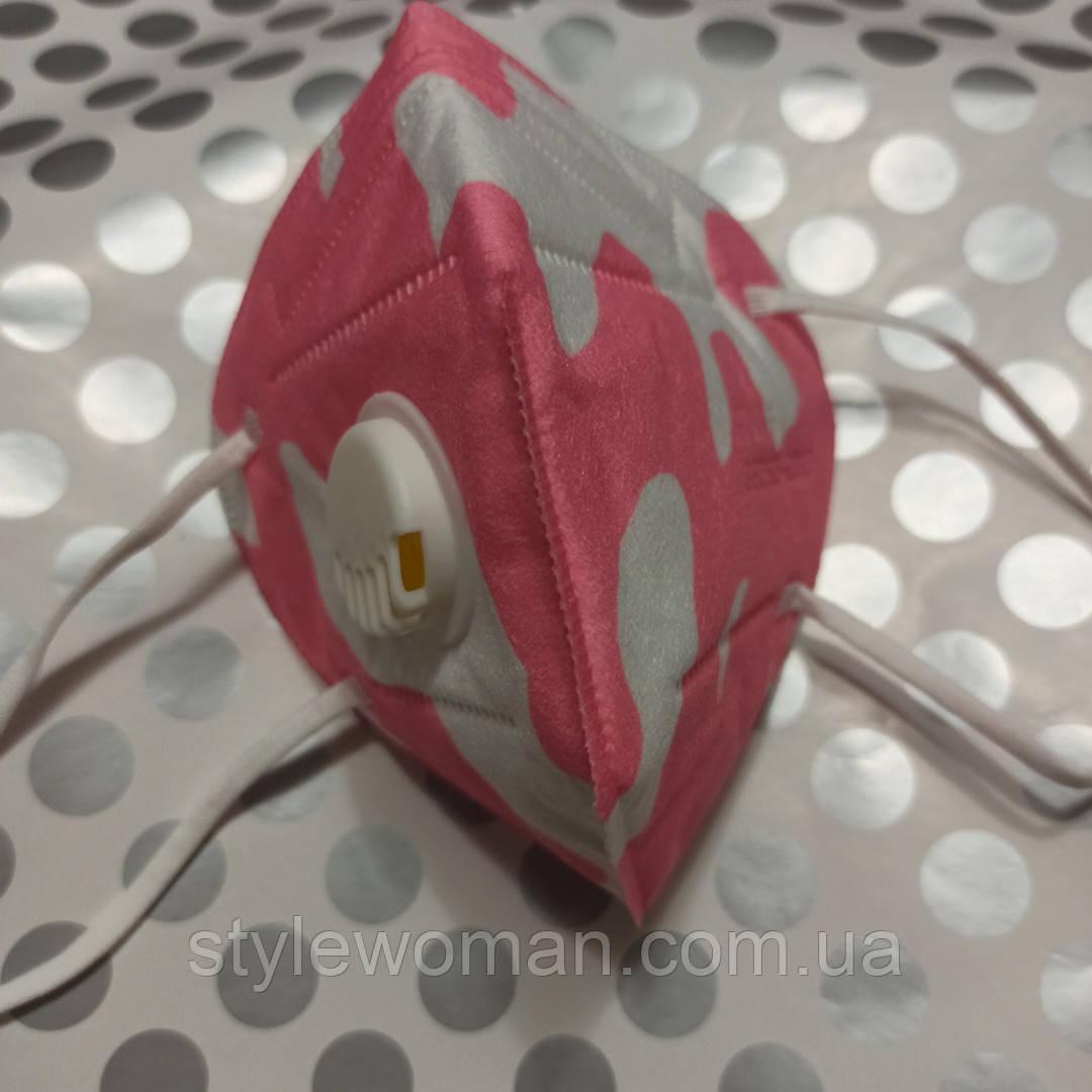 Защитная маска для лица с обратным клапаном Маски повязки для лица камуфляж розовый