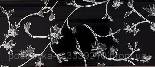 Лента декоративная на карниз, бленда Сакура 353 Черная 70 мм на усиленный потолочный карниз КСМ