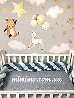 Бортик косичка в детскую кроватку розовый, сиреневый, серый, белый