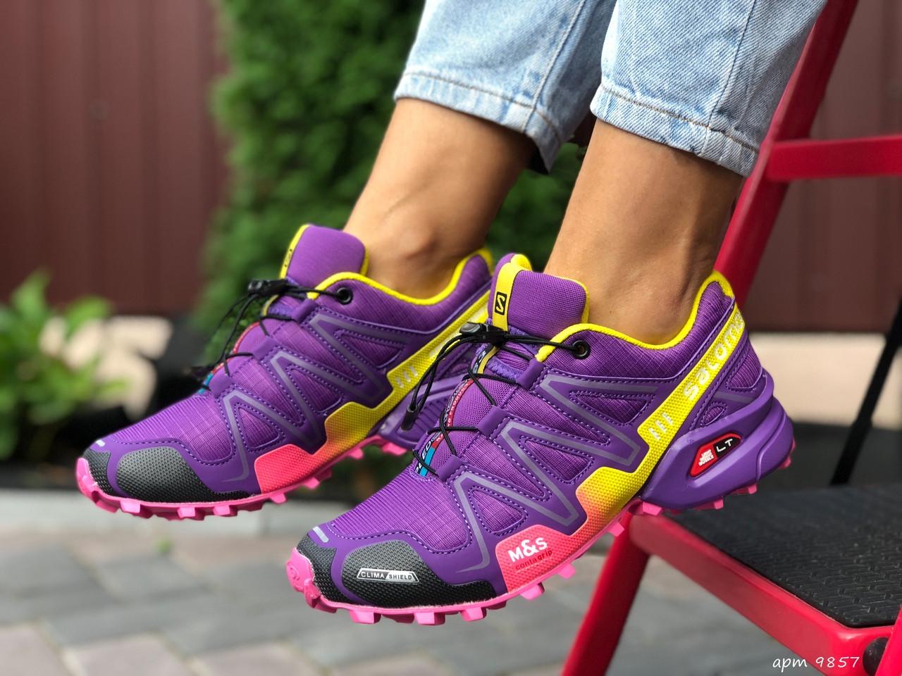 Salomon женские демисезонные фиолетовые с желтым кроссовки на шнурках