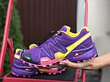 Salomon женские демисезонные фиолетовые с желтым кроссовки на шнурках, фото 2