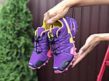 Salomon женские демисезонные фиолетовые с желтым кроссовки на шнурках, фото 3