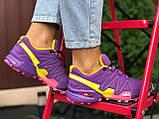 Salomon женские демисезонные фиолетовые с желтым кроссовки на шнурках, фото 4