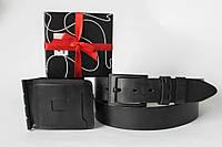 Подарочный набор для мужчины. Мужской кожаный зажим и ремень