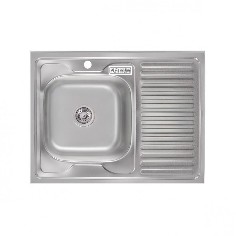 Кухонная мойка Platinum 8060 L Satin 0,6мм левая