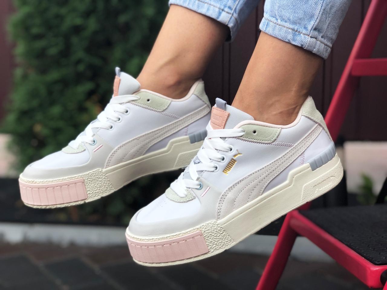 Puma женские демисезонные белые с бежевым кроссовки на шнурках