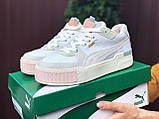 Puma женские демисезонные белые с бежевым кроссовки на шнурках, фото 5